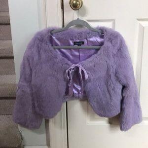 Bebe Purple Fur Bolero Jacket w Ribbon Tie
